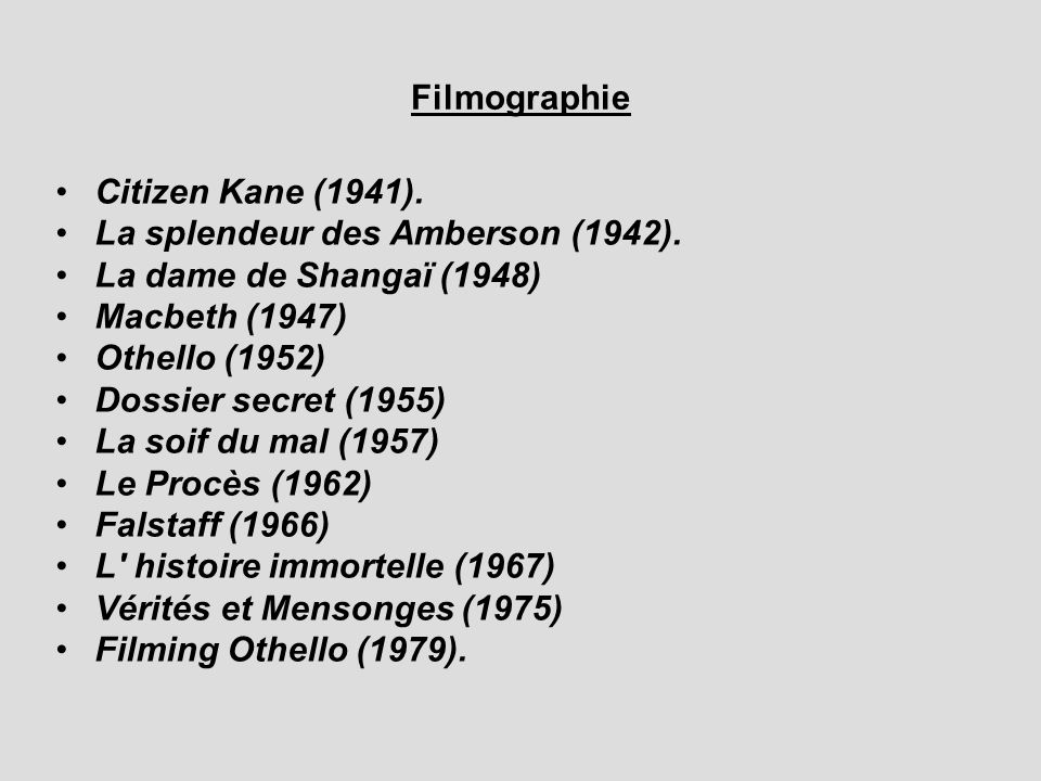Filmographie Citizen Kane (1941). La splendeur des Amberson (1942). La dame de Shangaï (1948) Macbeth (1947)