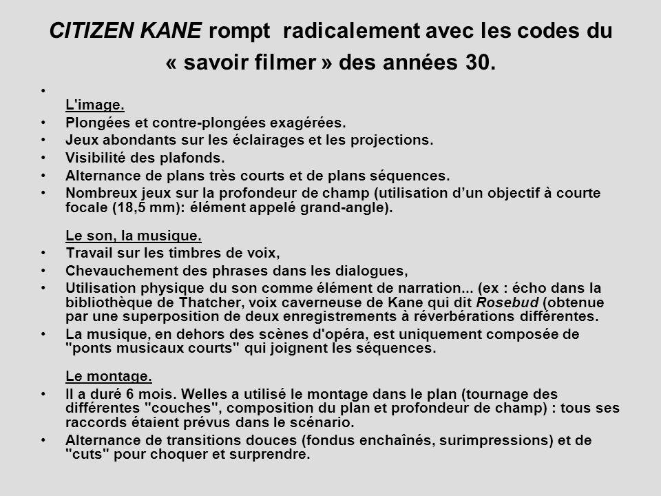 CITIZEN KANE rompt radicalement avec les codes du « savoir filmer » des années 30.