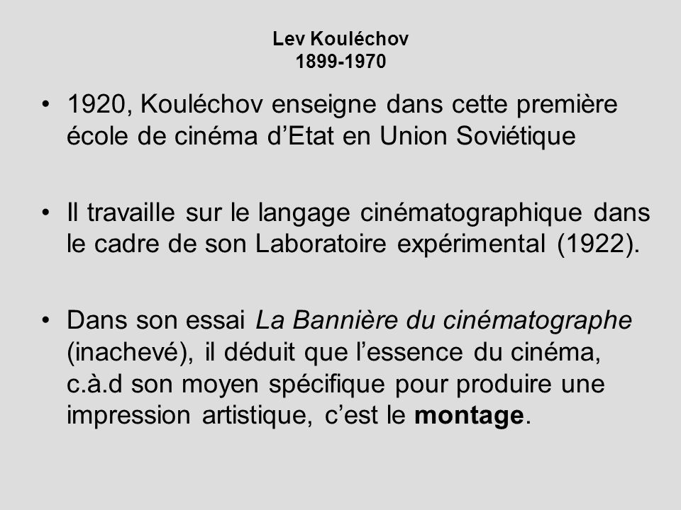 Lev Kouléchov 1899-1970 1920, Kouléchov enseigne dans cette première école de cinéma d'Etat en Union Soviétique.