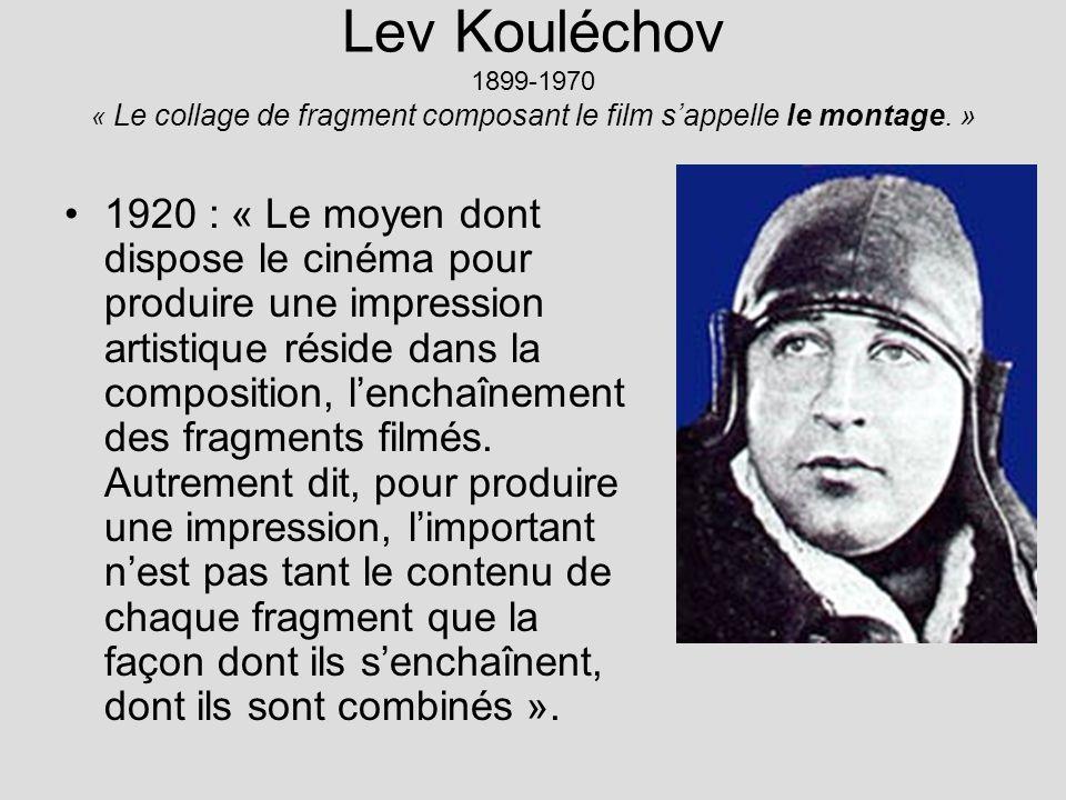 Lev Kouléchov 1899-1970 « Le collage de fragment composant le film s'appelle le montage. »