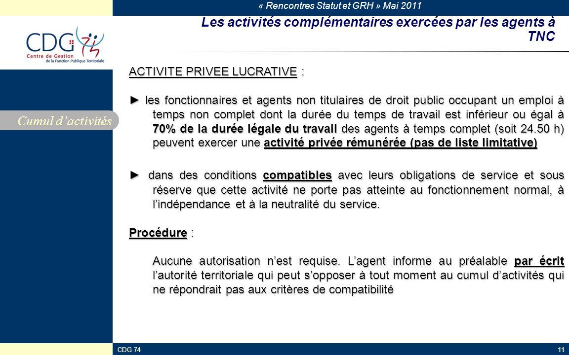 Les activités complémentaires exercées par les agents à TNC