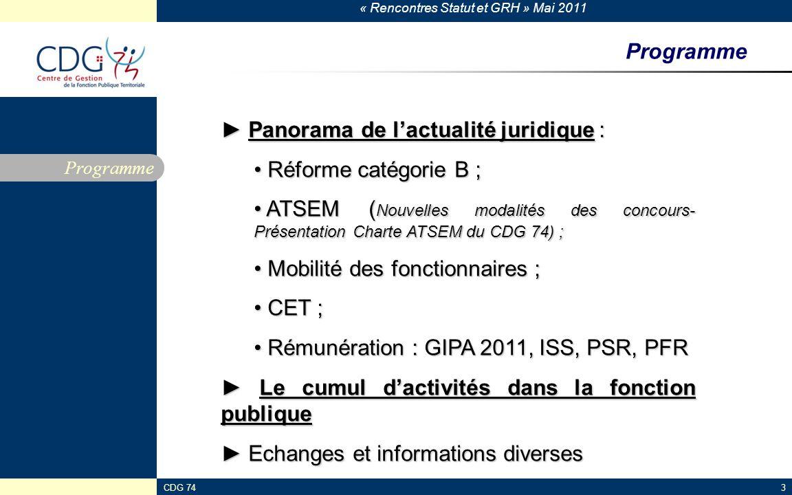► Panorama de l'actualité juridique : Réforme catégorie B ;