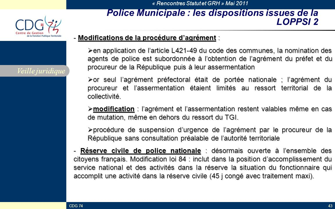 Police Municipale : les dispositions issues de la LOPPSI 2