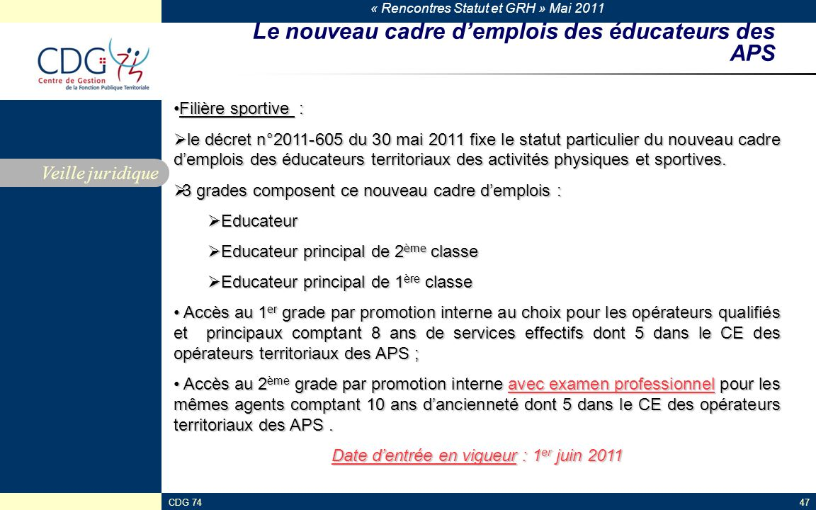 Le nouveau cadre d'emplois des éducateurs des APS