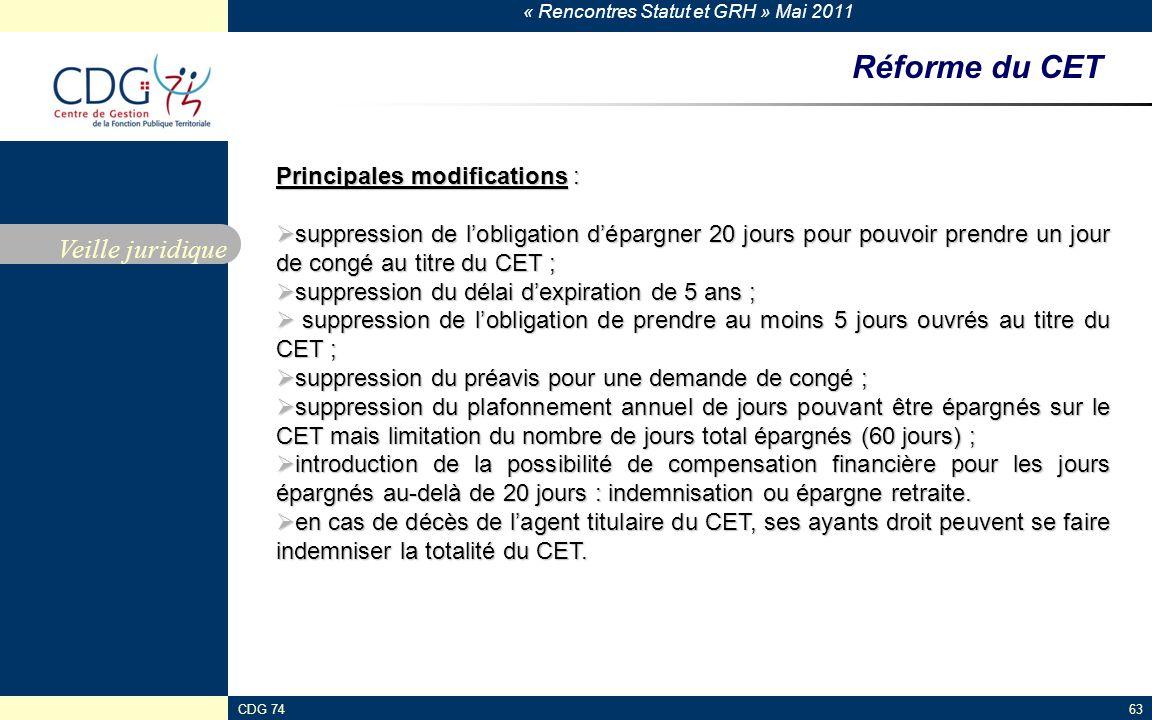 Réforme du CET Veille juridique Principales modifications :