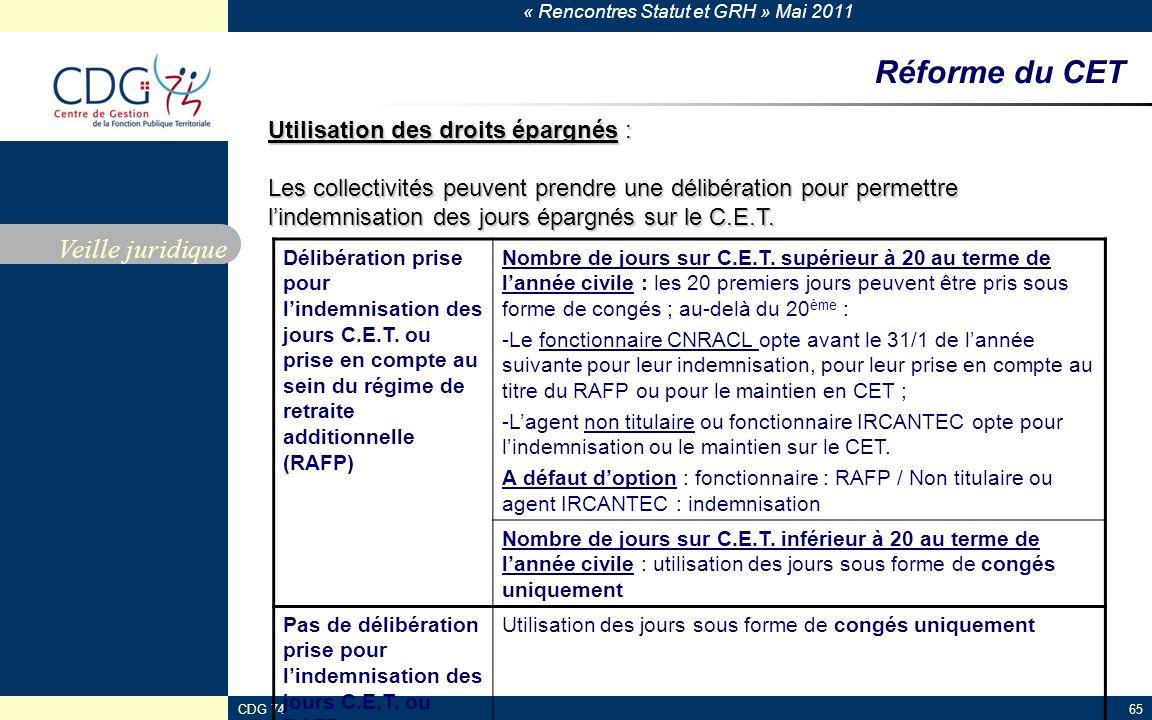 Réforme du CET Veille juridique Utilisation des droits épargnés :