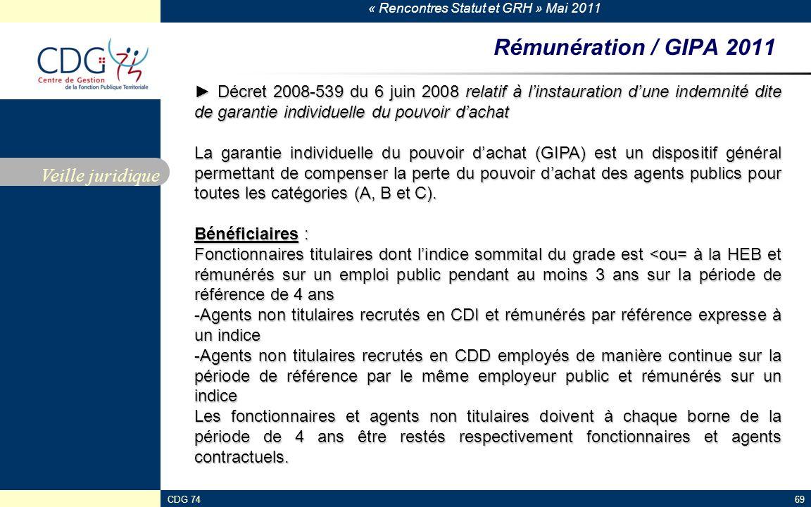 Rémunération / GIPA 2011 Veille juridique