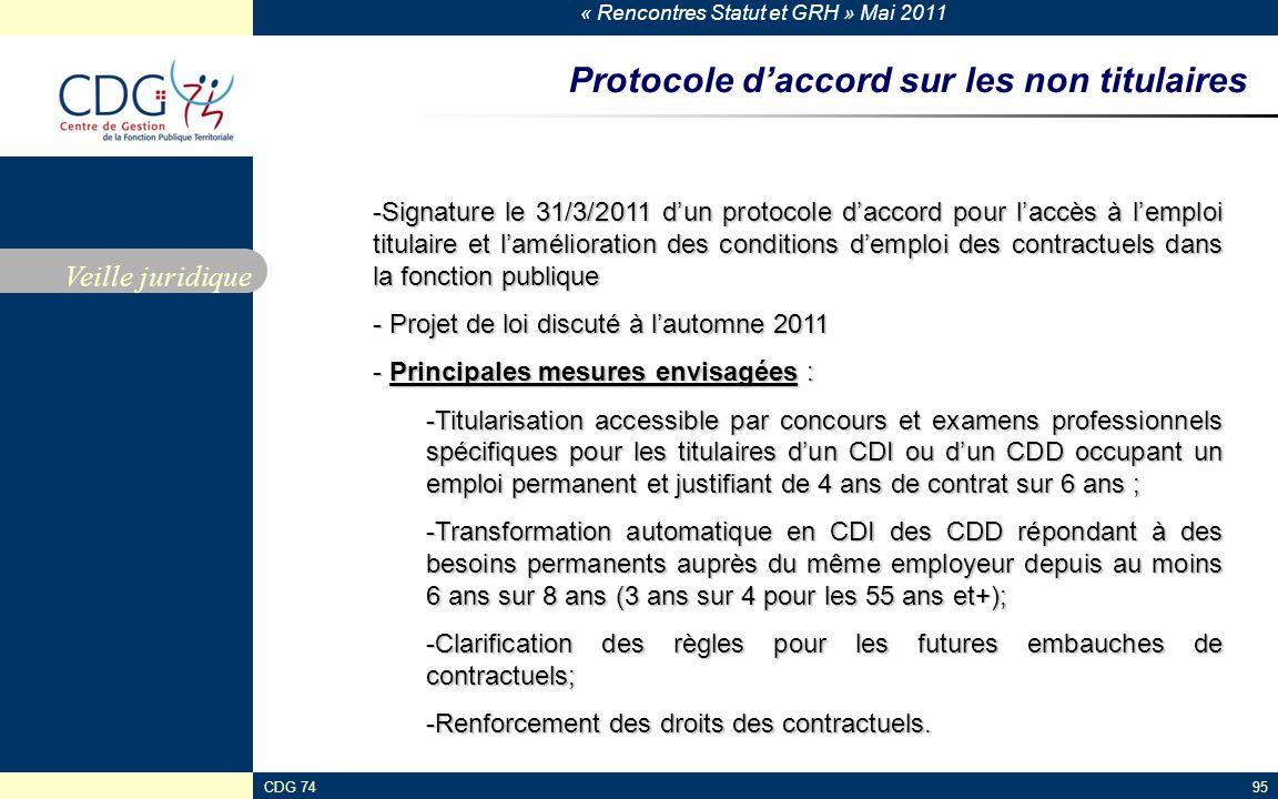 Protocole d'accord sur les non titulaires