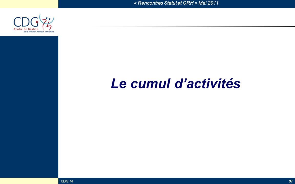 Le cumul d'activités CDG 74