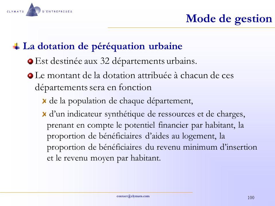 Mode de gestion La dotation de péréquation urbaine