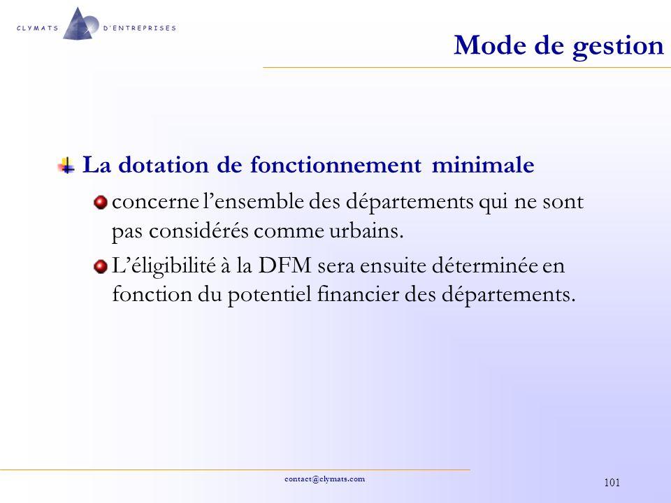 Mode de gestion La dotation de fonctionnement minimale
