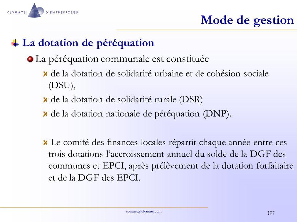 Mode de gestion La dotation de péréquation