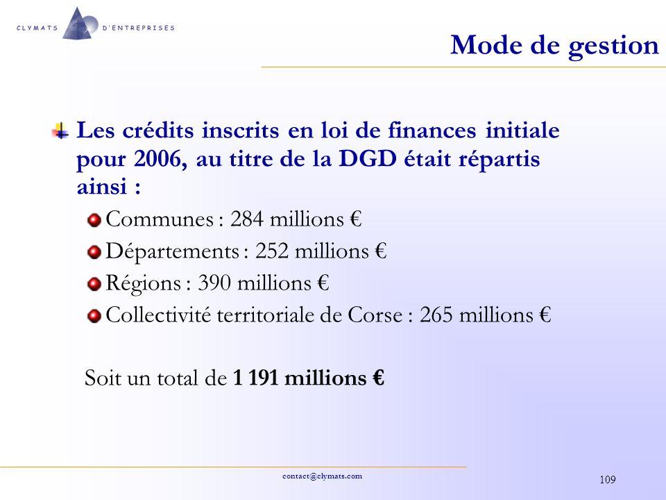 Mode de gestion Les crédits inscrits en loi de finances initiale pour 2006, au titre de la DGD était répartis ainsi :