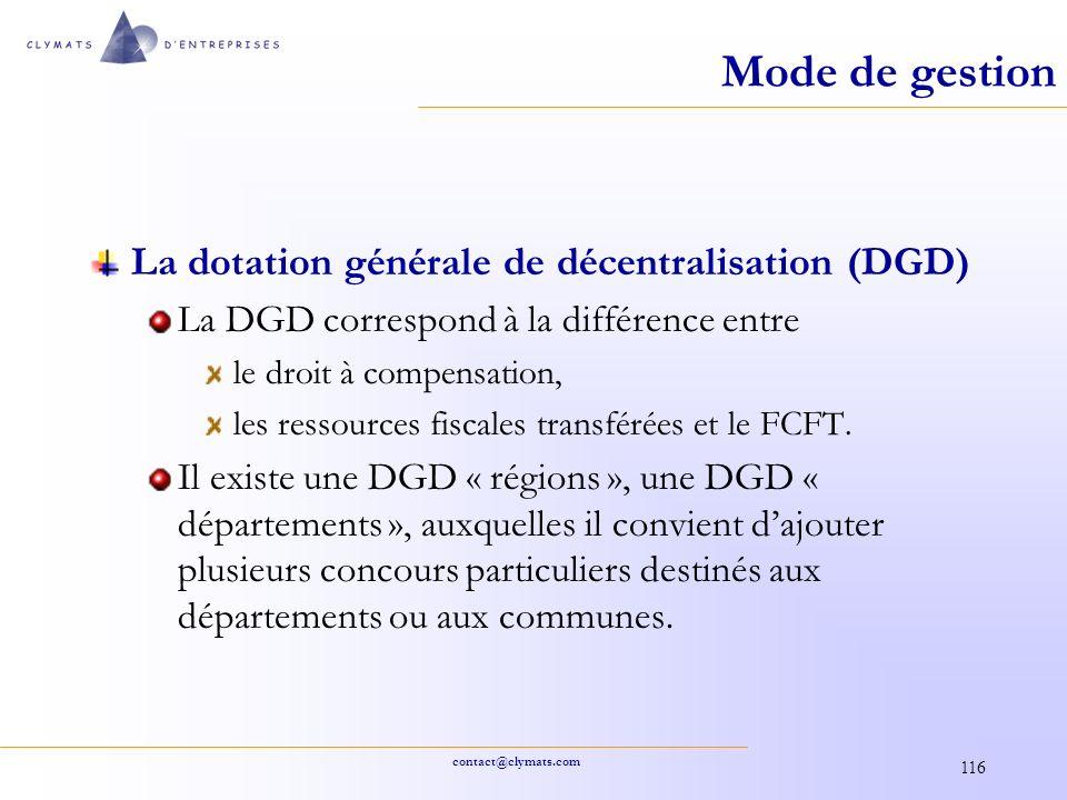 Mode de gestion La dotation générale de décentralisation (DGD)