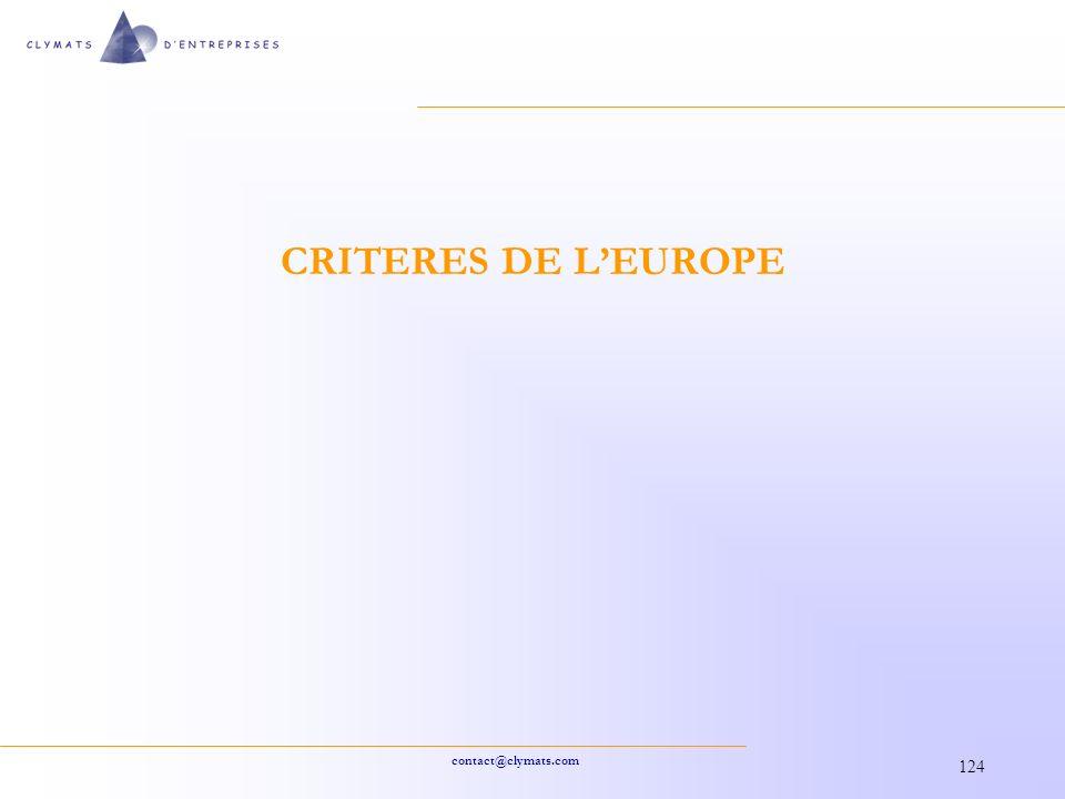 CRITERES DE L'EUROPE