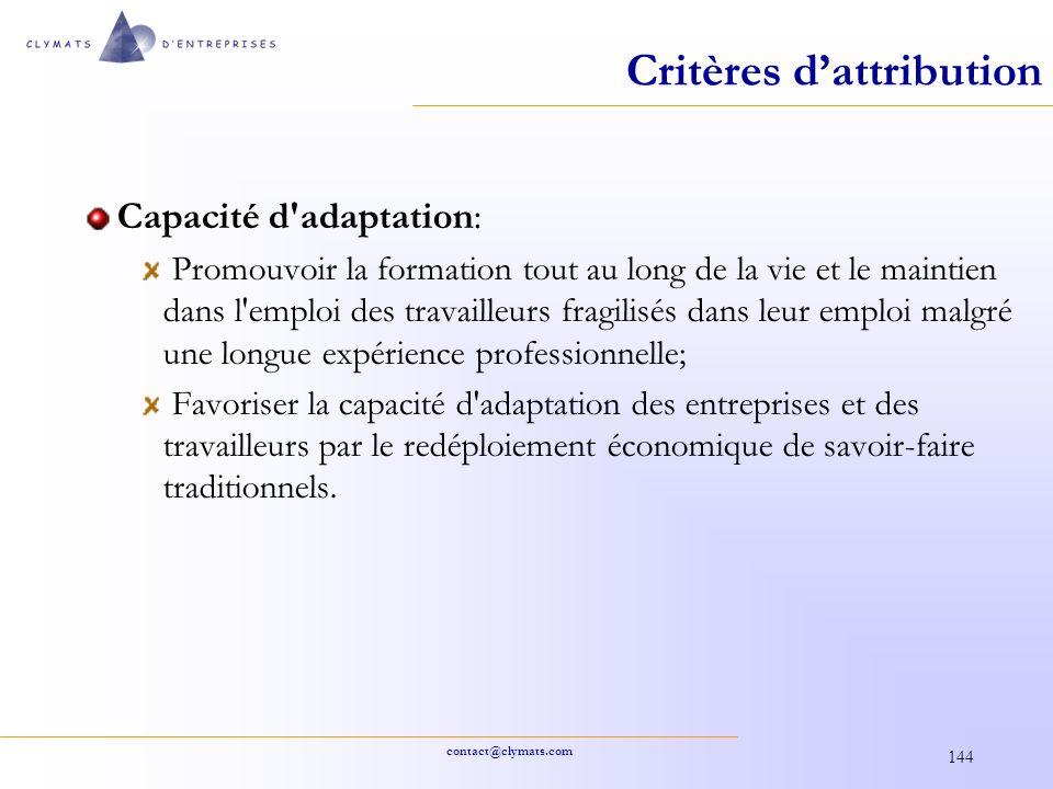 Critères d'attribution