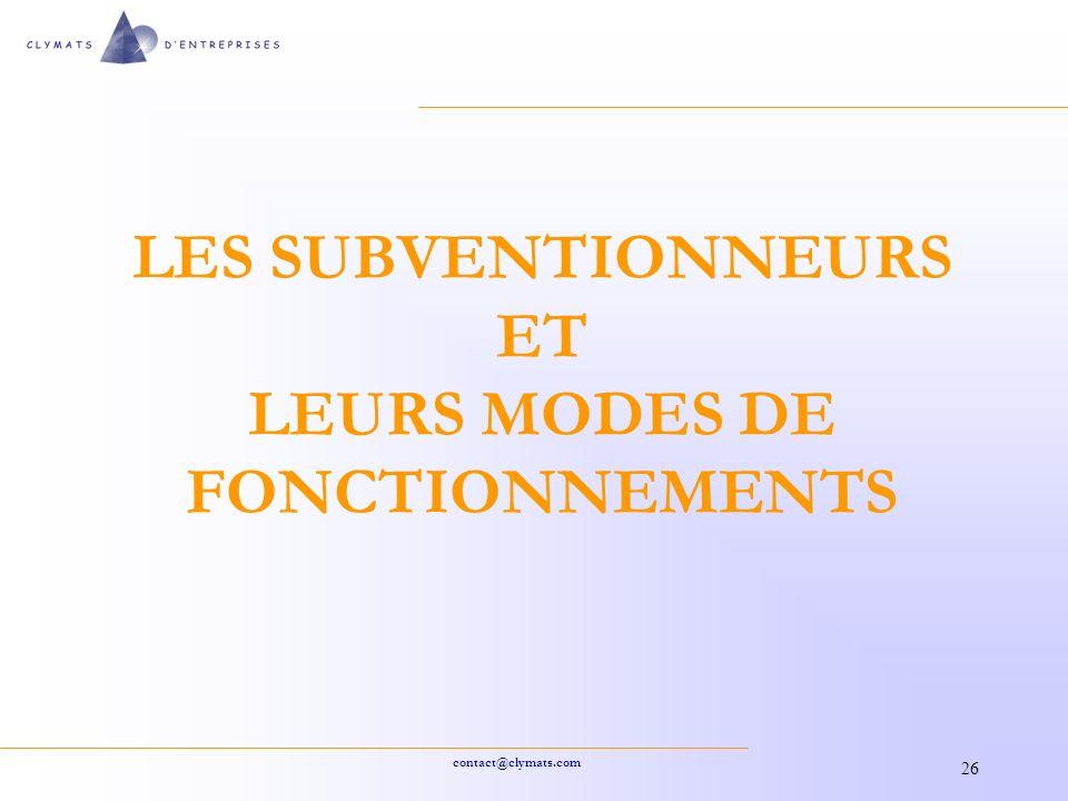 LES SUBVENTIONNEURS ET LEURS MODES DE FONCTIONNEMENTS
