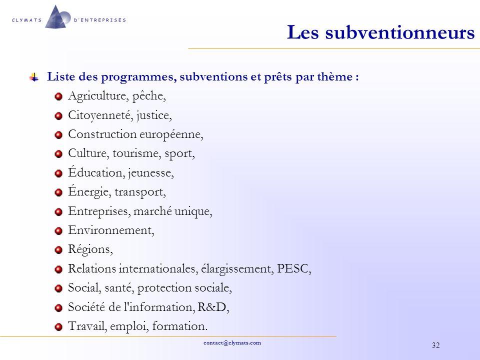 Les subventionneurs Liste des programmes, subventions et prêts par thème : Agriculture, pêche, Citoyenneté, justice,
