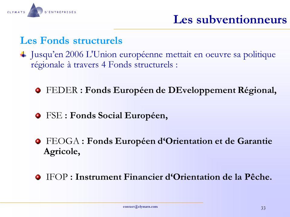 Les subventionneurs Les Fonds structurels
