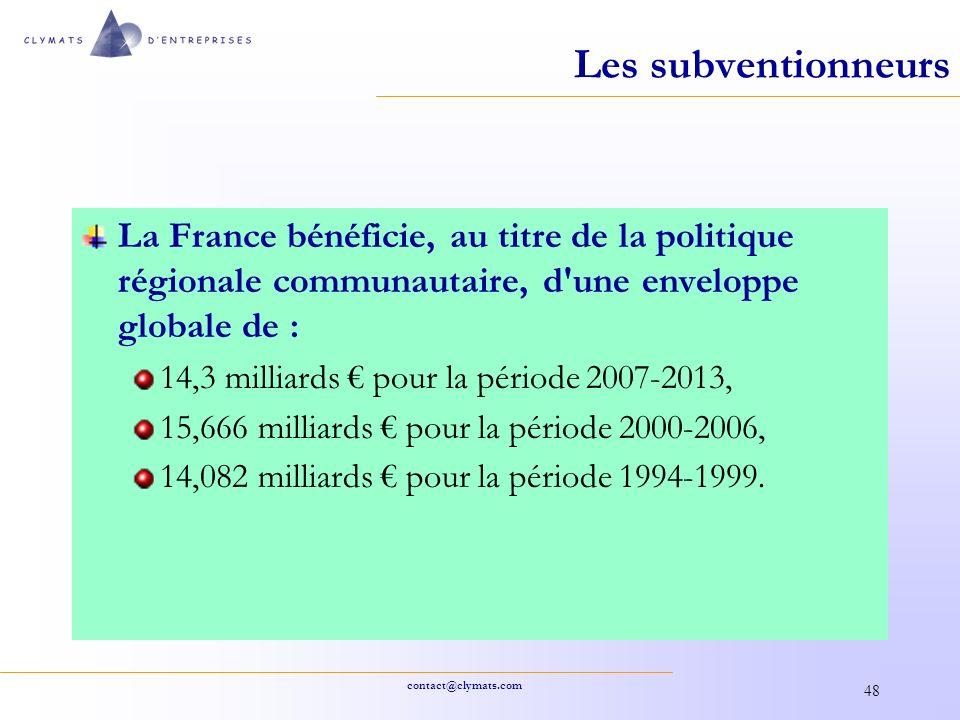 Les subventionneurs La France bénéficie, au titre de la politique régionale communautaire, d une enveloppe globale de :