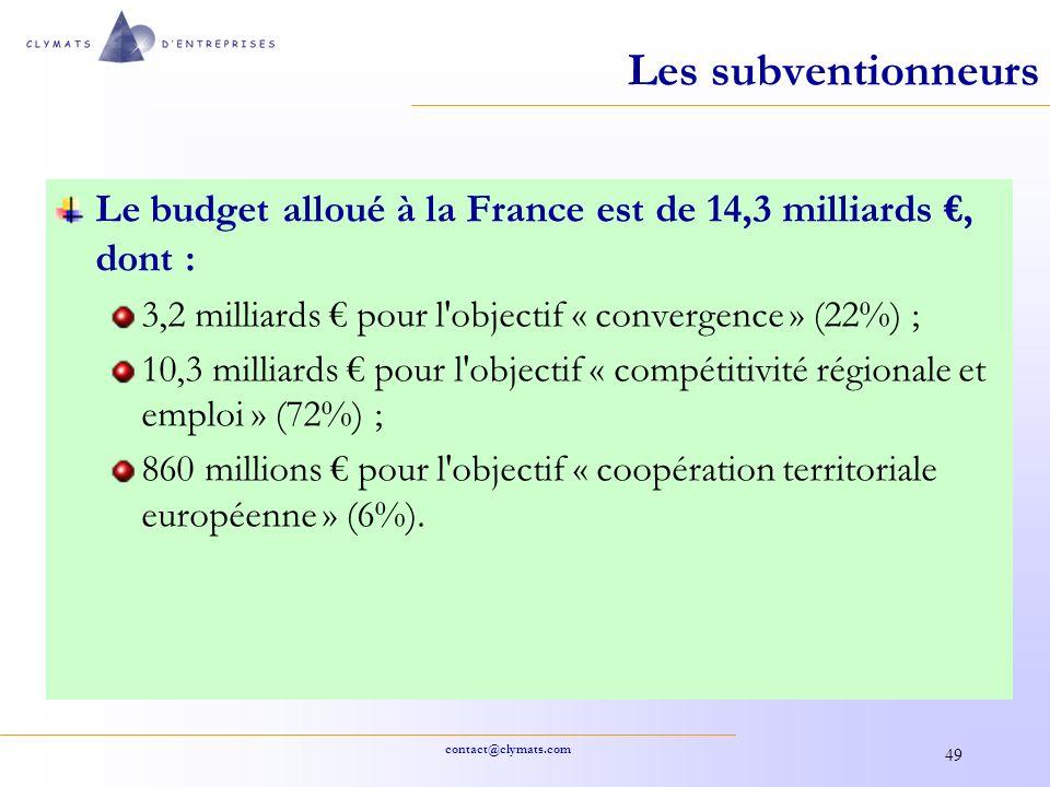 Les subventionneurs Le budget alloué à la France est de 14,3 milliards €, dont : 3,2 milliards € pour l objectif « convergence » (22%) ;