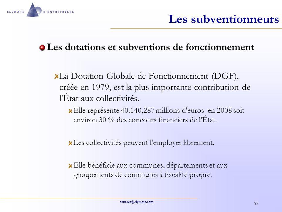 Les subventionneurs Les dotations et subventions de fonctionnement