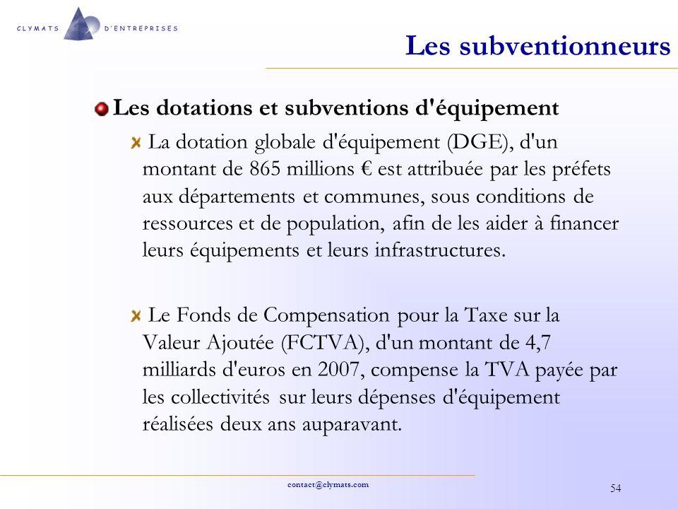 Les subventionneurs Les dotations et subventions d équipement
