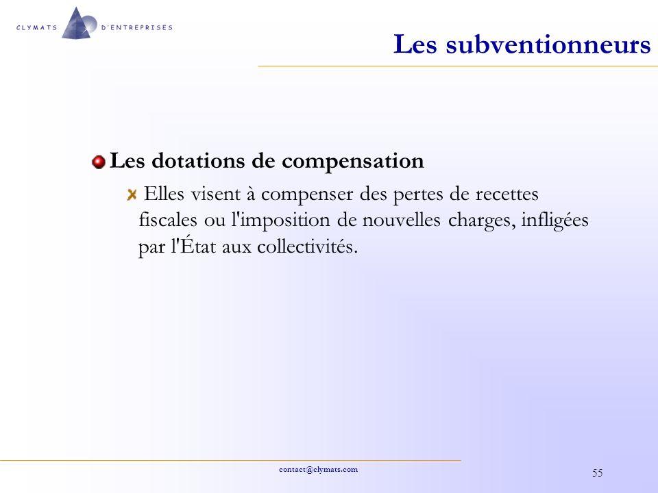 Les subventionneurs Les dotations de compensation