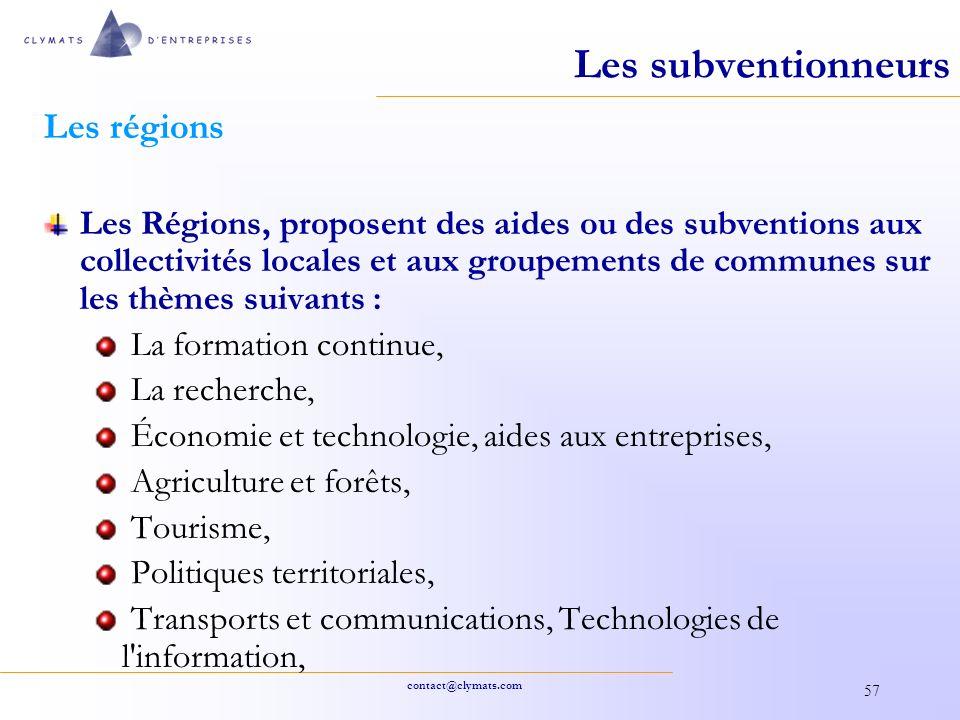 Les subventionneurs Les régions