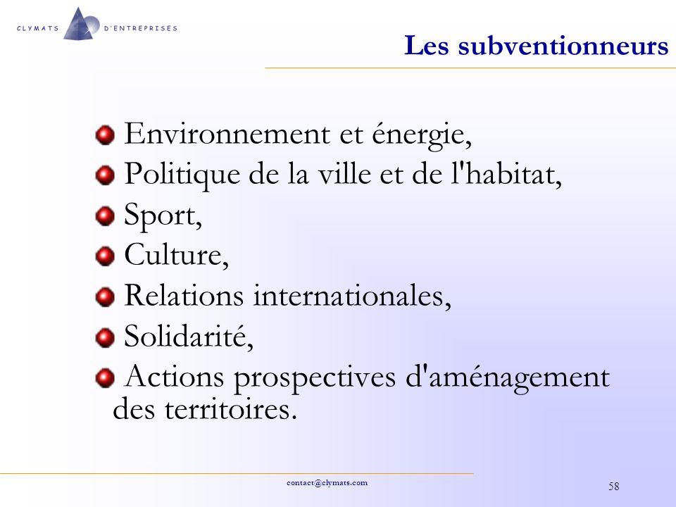 Environnement et énergie, Politique de la ville et de l habitat,