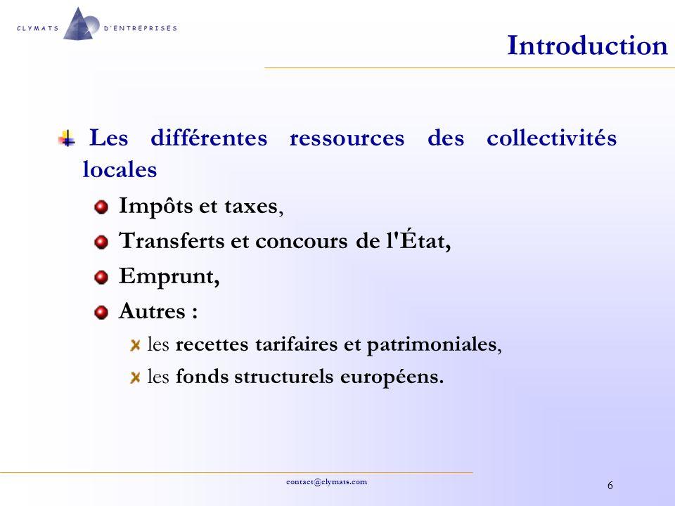 Introduction Les différentes ressources des collectivités locales