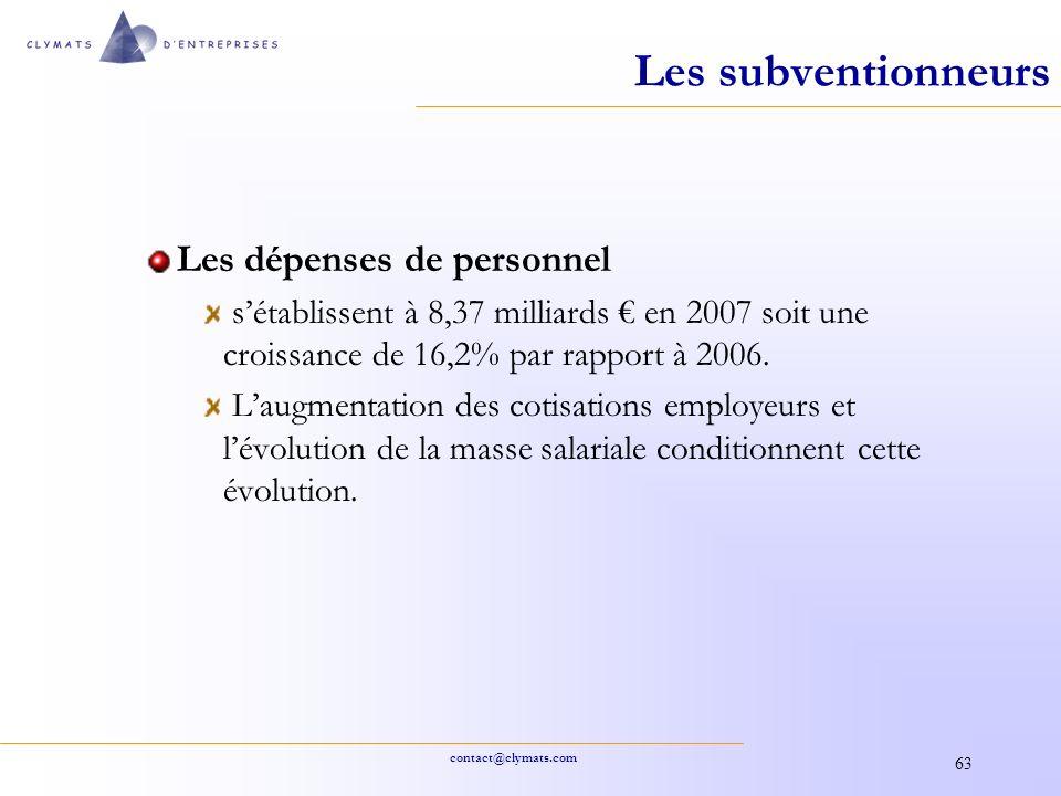 Les subventionneurs Les dépenses de personnel