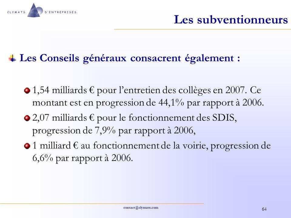 Les subventionneurs Les Conseils généraux consacrent également :