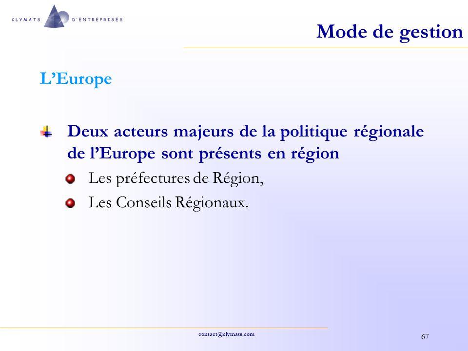Mode de gestion L'Europe
