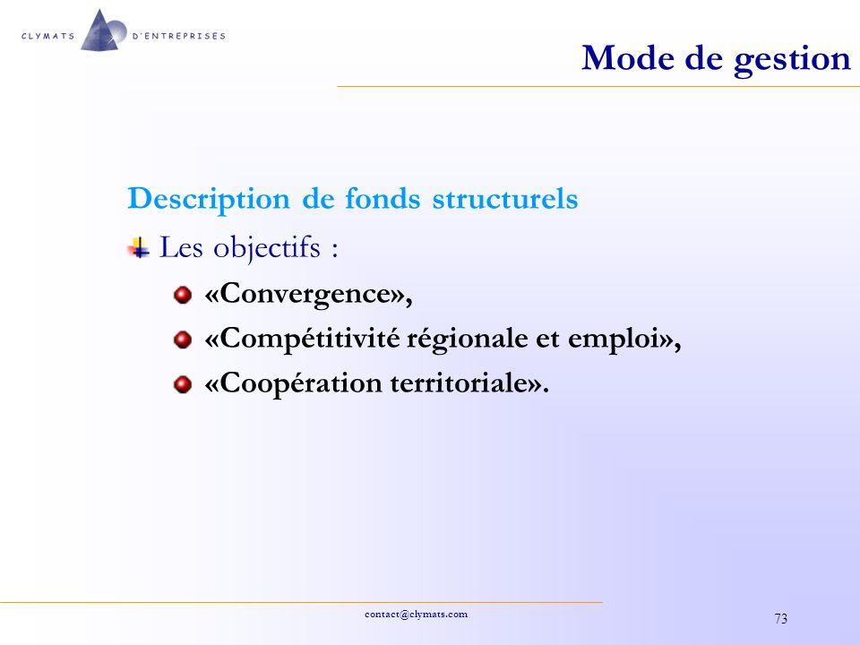 Mode de gestion Description de fonds structurels Les objectifs :