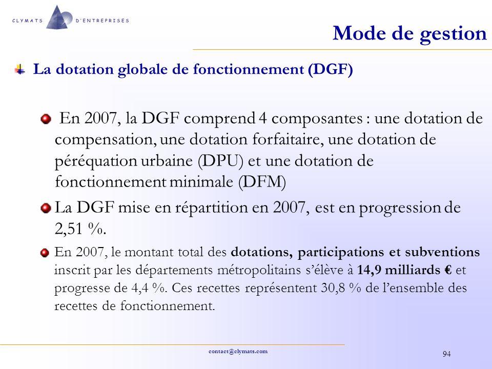 Mode de gestion La dotation globale de fonctionnement (DGF)