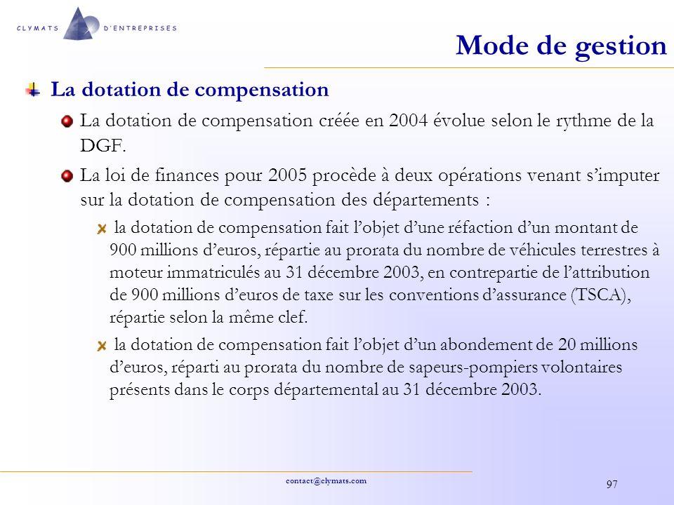 Mode de gestion La dotation de compensation