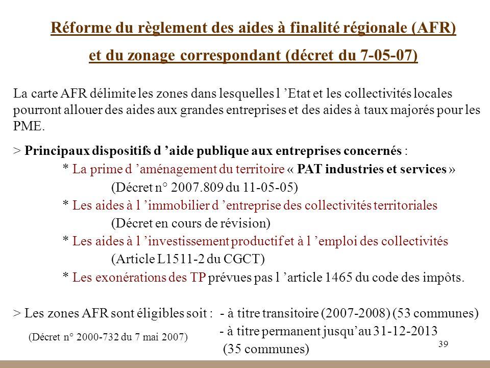 Réforme du règlement des aides à finalité régionale (AFR)