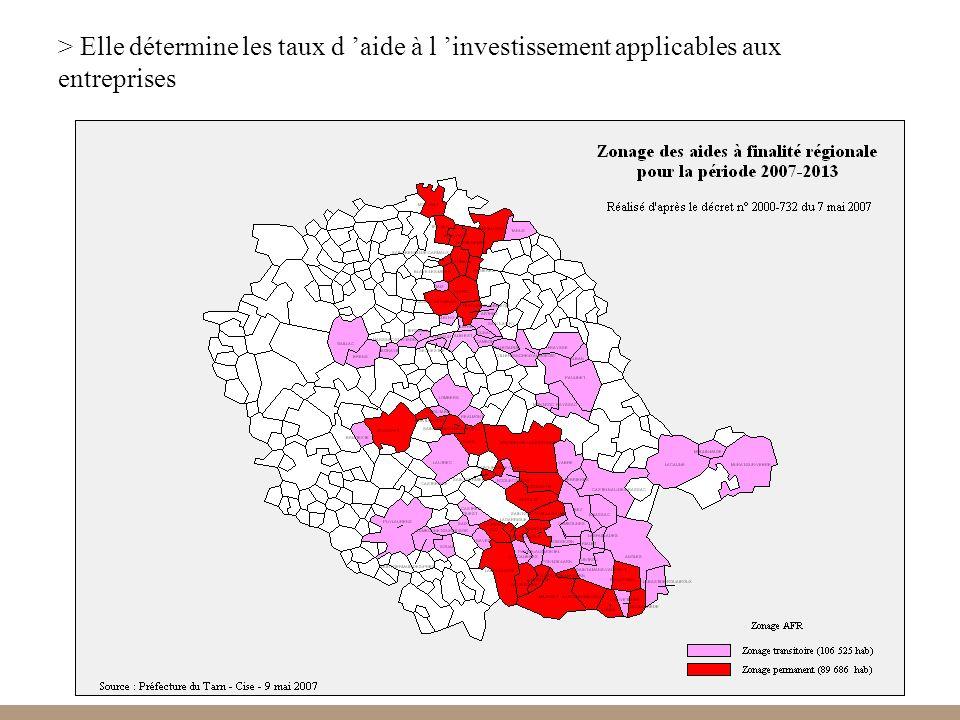 > Elle détermine les taux d 'aide à l 'investissement applicables aux entreprises