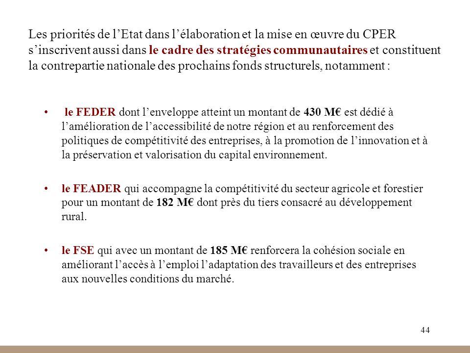 Les priorités de l'Etat dans l'élaboration et la mise en œuvre du CPER s'inscrivent aussi dans le cadre des stratégies communautaires et constituent la contrepartie nationale des prochains fonds structurels, notamment :