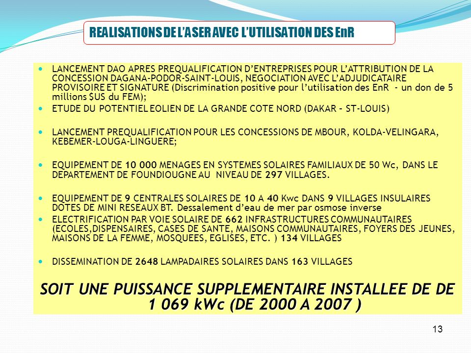REALISATIONS DE L'ASER AVEC L'UTILISATION DES EnR