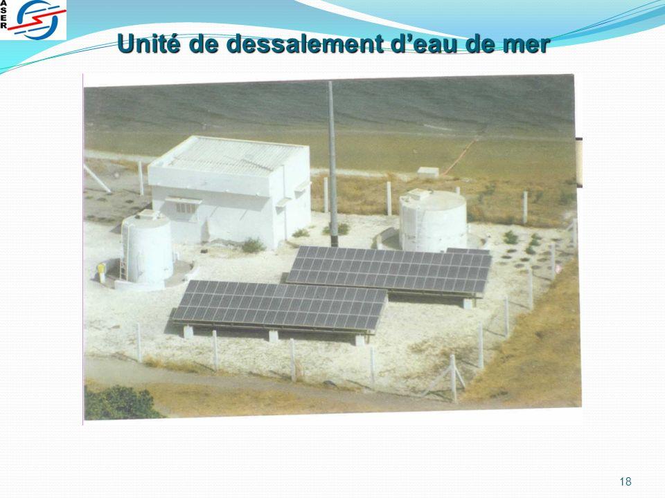 Unité de dessalement d'eau de mer