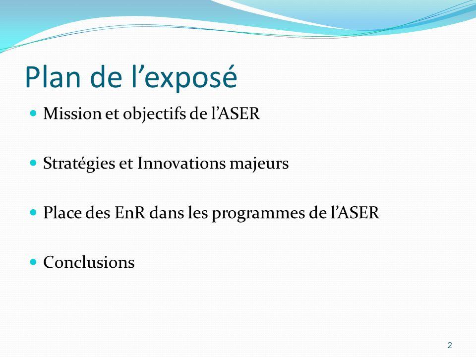 Plan de l'exposé Mission et objectifs de l'ASER