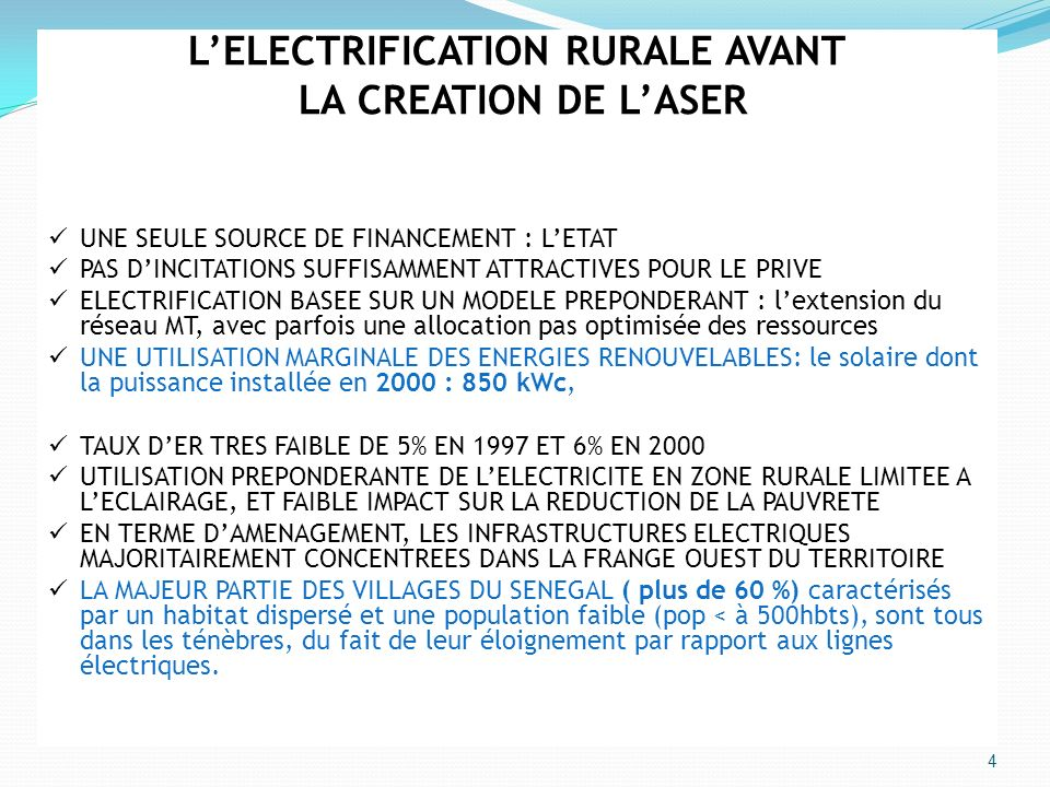 L'ELECTRIFICATION RURALE AVANT