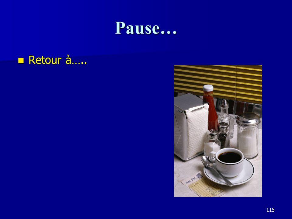Pause… Retour à…..