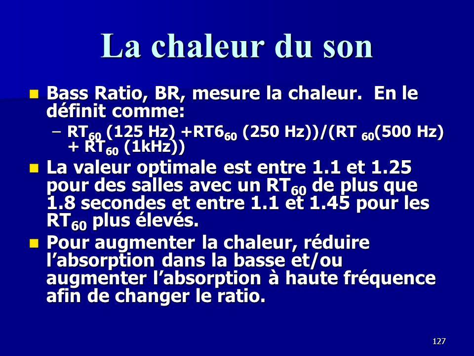 La chaleur du son Bass Ratio, BR, mesure la chaleur. En le définit comme: RT60 (125 Hz) +RT660 (250 Hz))/(RT 60(500 Hz) + RT60 (1kHz))