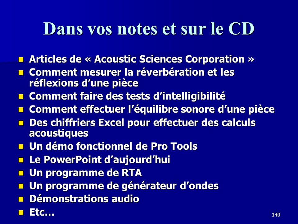 Dans vos notes et sur le CD