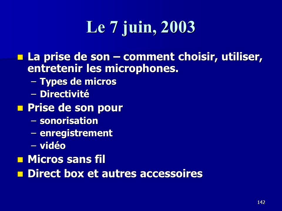 Le 7 juin, 2003 La prise de son – comment choisir, utiliser, entretenir les microphones. Types de micros.