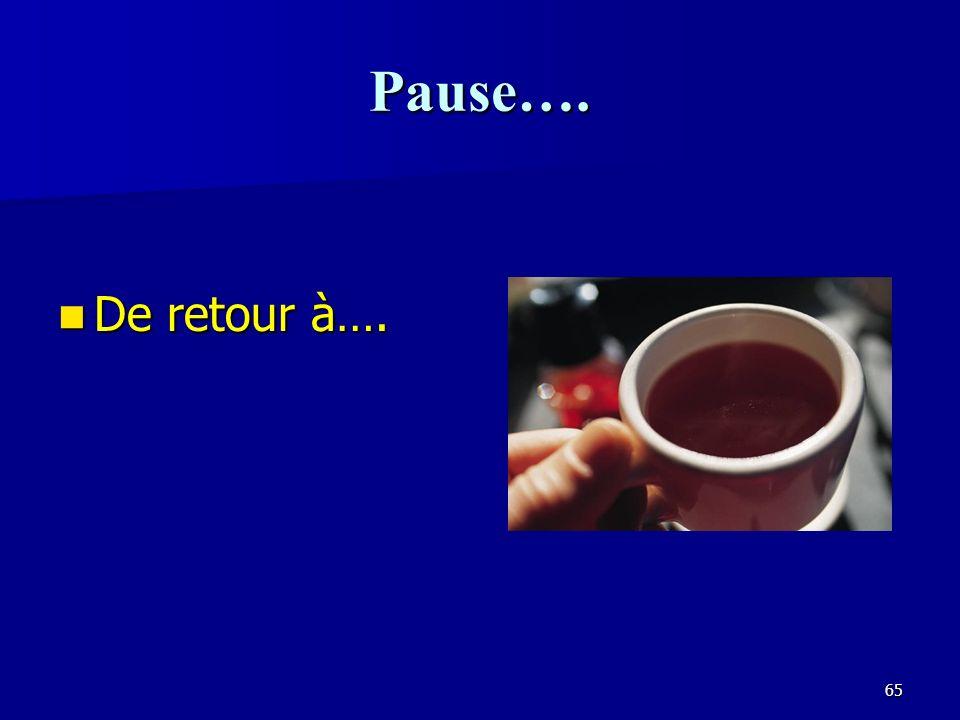 Pause…. De retour à….