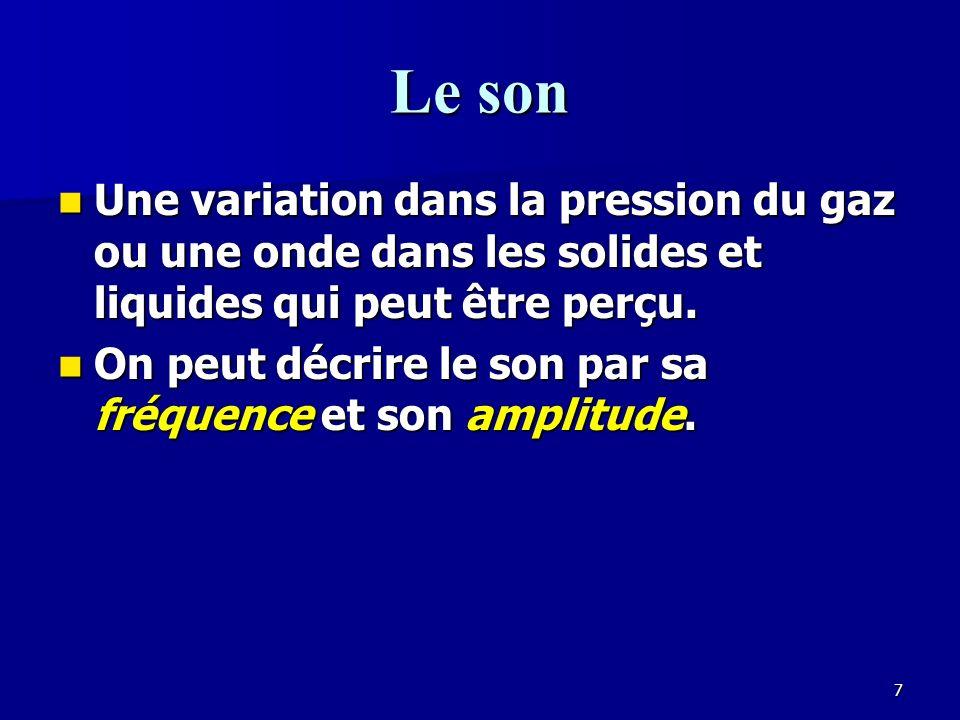 Le son Une variation dans la pression du gaz ou une onde dans les solides et liquides qui peut être perçu.